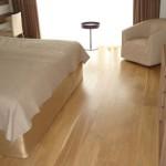 Oak flooring in bedroom